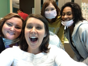 Kelli, Alysia, Taylor, and Kiera enjoying Career Day at Dr. Bell and Covert Family Dentistry